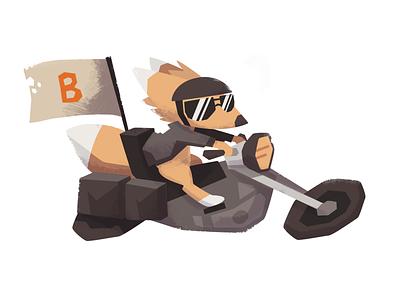 Fox on the Go 2 fox vector raster illustration