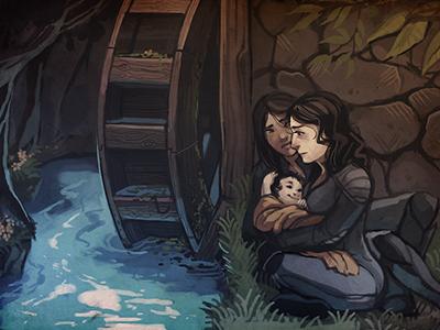 Waterwheel painting illustration scene baby pchat