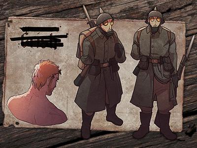 Hans Orland Grish character design german ww1 illustration