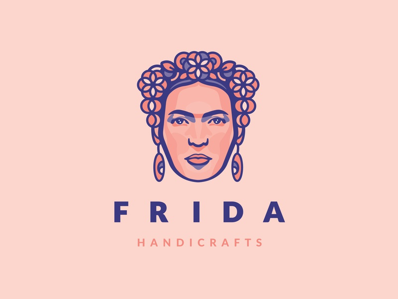 FRIDA facelogo handicrafts fridakahlo illustrator logo illustration icon flatdesign design branding