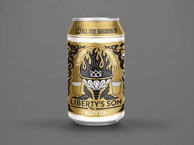 Libertys Son - Can design for All Inn Brewing Co gwil packaging illustration ipad hazy australia new zealand can art beer label beer