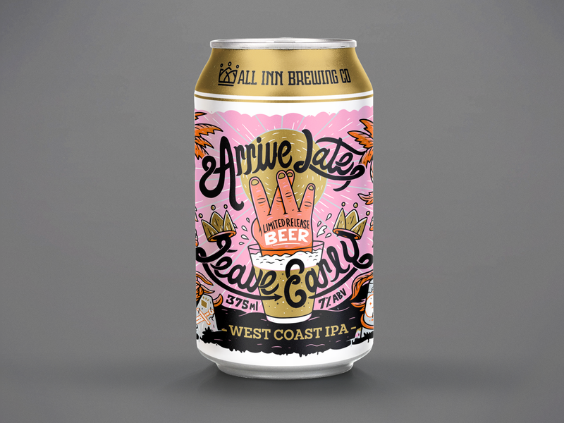 Arrive Late  Leave Early new zealand craft beer beer sketchbook packaging illustration
