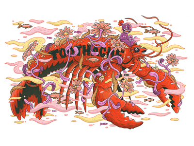 Lobster lobster character sketchbook drawing magazine t-shirt illustration