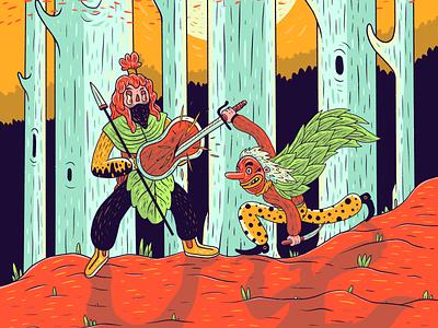 Warriors battle warriors drawing sketchbook character illustration