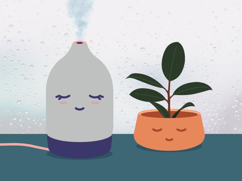 Calm is... coolness rain plants scents illustration calm