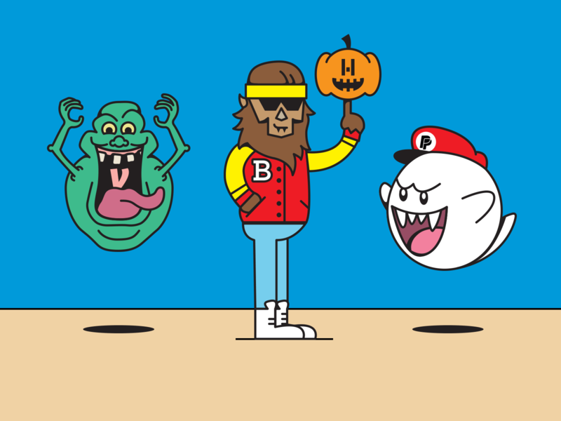 "Throwback ""on-brand"" Halloween characters illustration throwback 80s 1980s lettermark family event halloween jack-o-lantern super mario bros boo ghostbusters slimer scott howard teen wolf hyperwallet venmo braintree paypal"