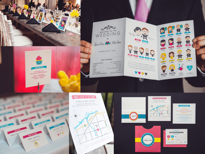 CMYK Wedding Event Design vector characters branding illustration day of planning rsvp map card table numbers food cards escort cards save the date invications event wedding