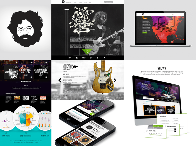 Jerry Garcia Website vector characters branding mobile illustration typeography hand-drawn type story timeline guitars tour custom experience the parking lot the grateful dead jerry garcia