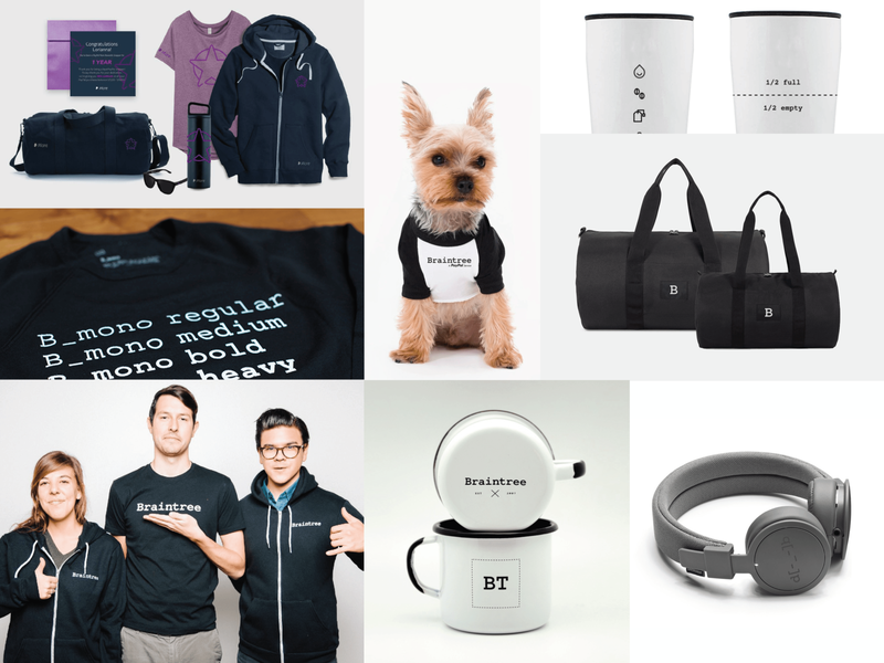 Braintree Swag branded merchandise team gifts team swag graphic design promotional design promotional items gifts braintree branding swag