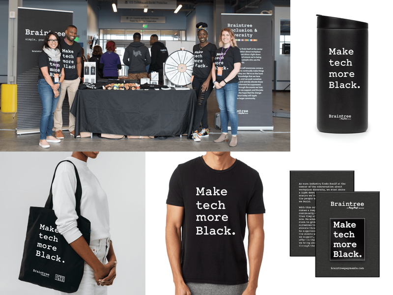Make Tech More Black tshirts diversity and inclusion branding swag conference tech afrotech blavity make tech more black