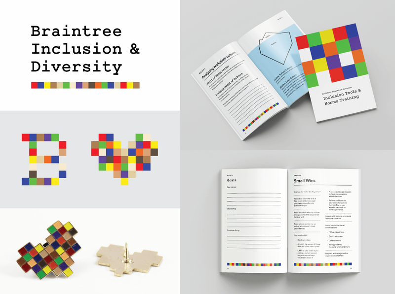 Diversity and Inclusion Brand Identity rainbow pride skin tone fitzpatrick scale grid modular branding visual identity brand identity logo color palette workbook training diversity and inclusion