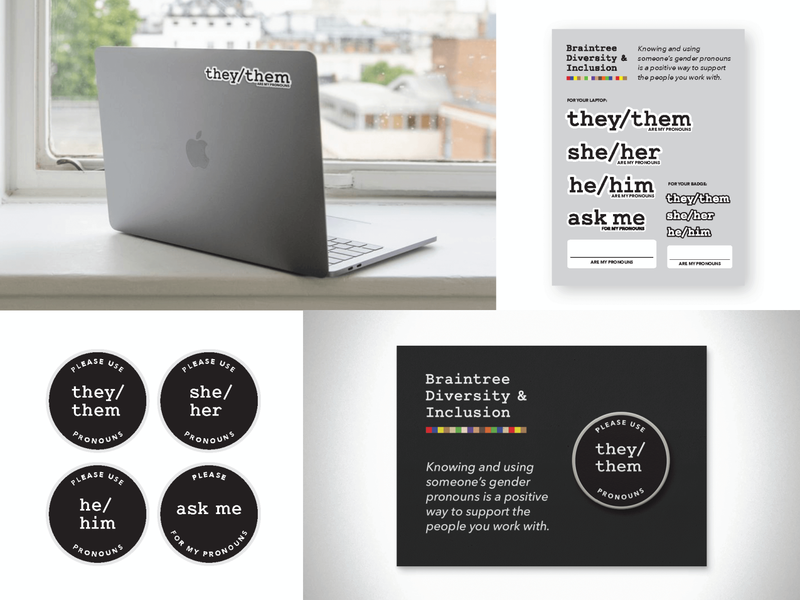 Pronoun Stickers and Pins inclusive workplace worklife pronoun stickers pronoun pins inclusion and diversity diversity work inclusion pronouns matter