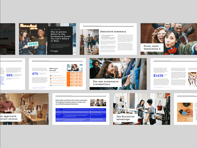Horizontal Whitepaper Design indesign layout design payments industry in-store purchasing trends generation z sales enablement marketing materials marketing horizontal orientation template whitepaper
