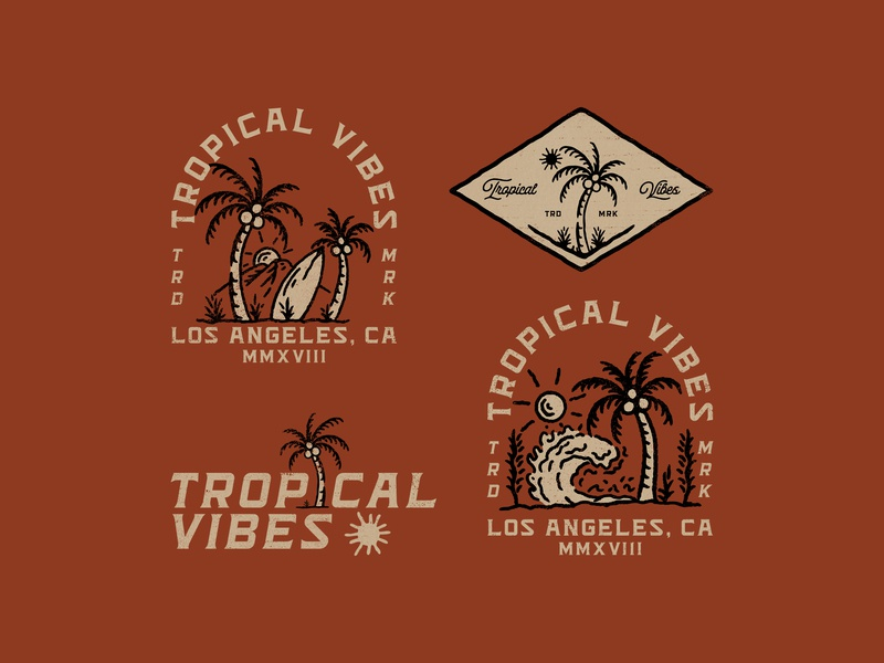 TROPICAL VIBES apparel merch design logo brand surfapparel surf badge logo badgedesign custom art branding merch vintage art vector supplyanddesign outdoorapparel illustration apparel design clothingbrand vintage design clothing design