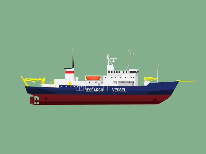 Research Vessel digital art vector minimal flat illustration