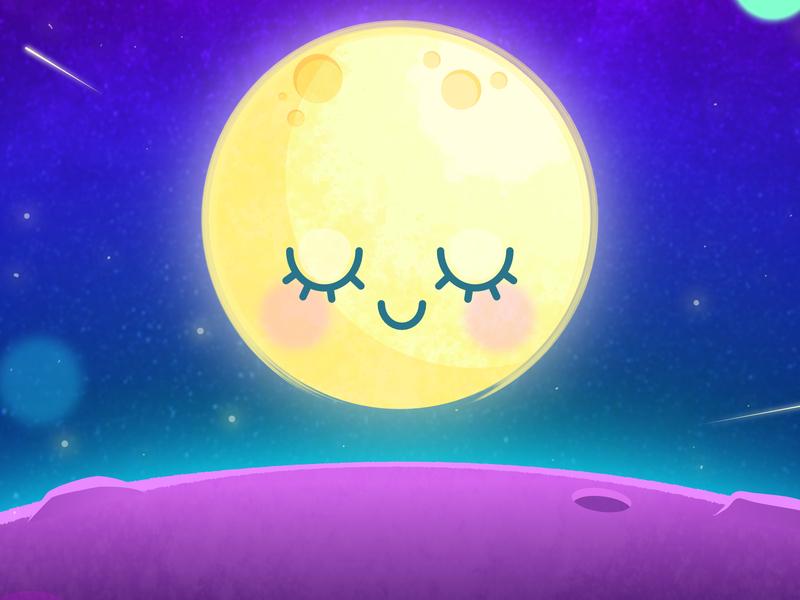 Make Waves character cartoon cute moon