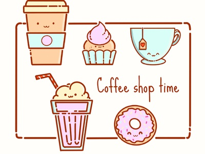 coffee shop icons cake coffee procreate app design cute illustration character cartoon