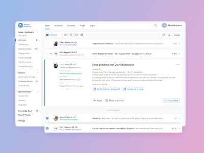 Inbox Messenger product interaction adaptive application crm saas creative minimal expand pink violet blue interface animation web ux ui messages messenger inbox