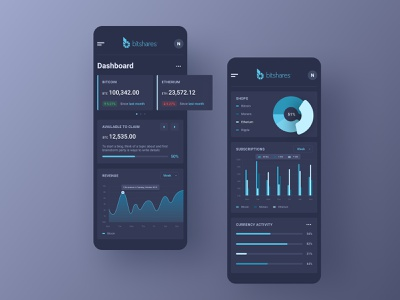 Bitshares — cryptocurrency platform (mobile versions) managment app ui dark dashboad crypto cryptocurrency ux application chart mobile interface interaction adaptive