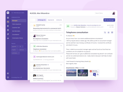 Accountant Platform — Messages screen chat messages card attachments blue pink sidebar inbox communication dashboad adaptive application clean design animation platform ux ui interface interaction
