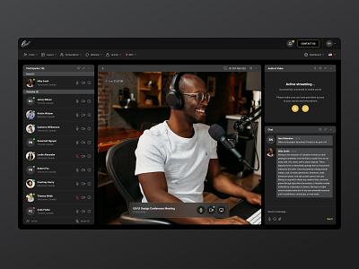 Live Streaming Platform design clean skype video interface dashboad creative app web app saas courses dark black ux ui zoom streaming webinar