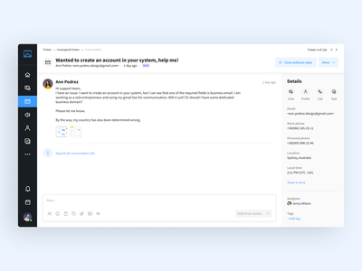 Client support area – ticket page with previous conversations breadcrumb desktop app saas adaptive support attachment user badge blue ux ui reply details chat conversation inbox sidebar ticket message