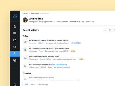 Page with contact details yellow user details info button sidebar icons profile activity phone status badge timeline history reply tabs app ux ui interface