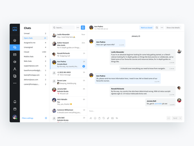 Chat page — all customers conversations messenging messenger active ux inbox layout grey clean saas app interface call search reply sidebar filters notification user conversation chat