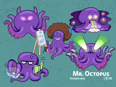 Mr. Octopus sticker design octopus character design illustration drawing