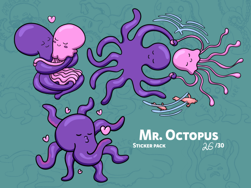 Mr. Octopus &  Ms. Jellyfish jellyfish sticker design octopus character design illustration drawing