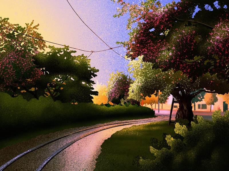 Old tram tracks landscape helsinki artwork art illustration drawing