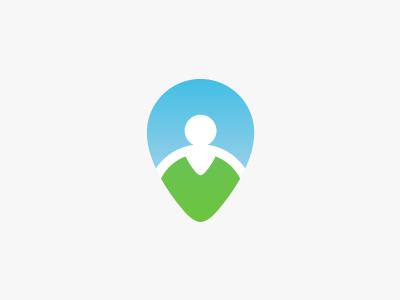 Placemark + Man Logo logo logomark negative space place-mark