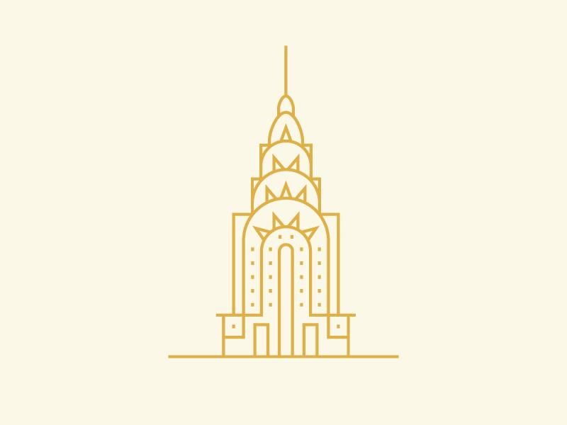 Chrysler line usa vector illustration skyscraper town city monoline building new york nyc chrysler