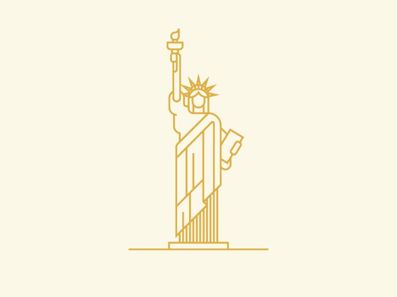 Statue of Liberty landmark liberty usa ny united states illustration statue geometric monoline statue of liberty nyc new york