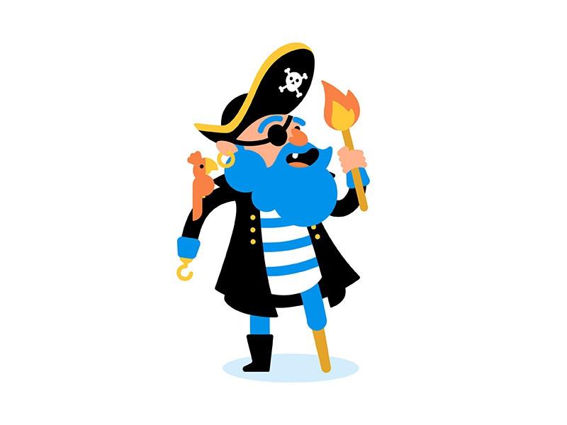 Pirate flat character design illustration character pirate
