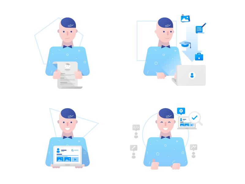 Signup illustration flat geometric tidl character sign up signup laptop resume portfolio vector