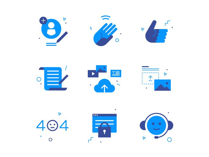 Tidl Icons I blue icon profile iconography hand support 404 upload flat geometric tidl icons