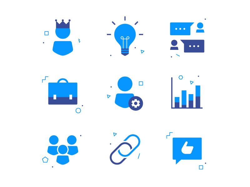 Tidl Icons II share group statistics job bulb tidl icons iconography icon geometric flat blue