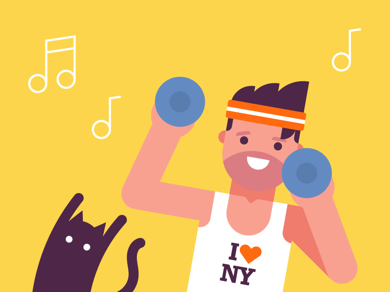 Workout vector flat sports gym fitness exercise character illustration geometric cat man workout