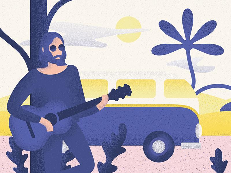 Trip illustration 60s drive texture guitar van the beatles john lennon
