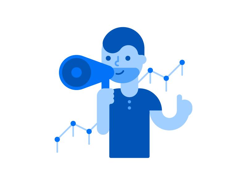Marketer man flat loudspeaker marketer character illustration