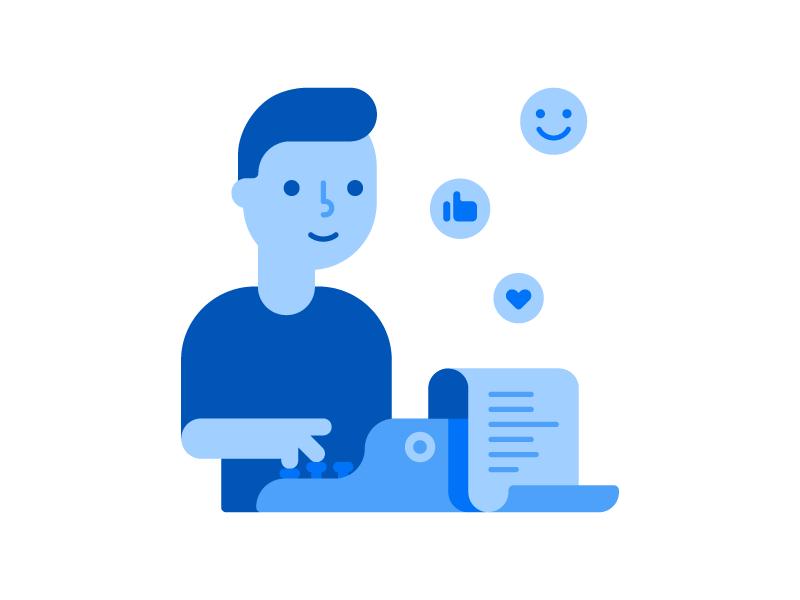 Content Creator writing geometric vector typewriter typing man writer flat character illustration