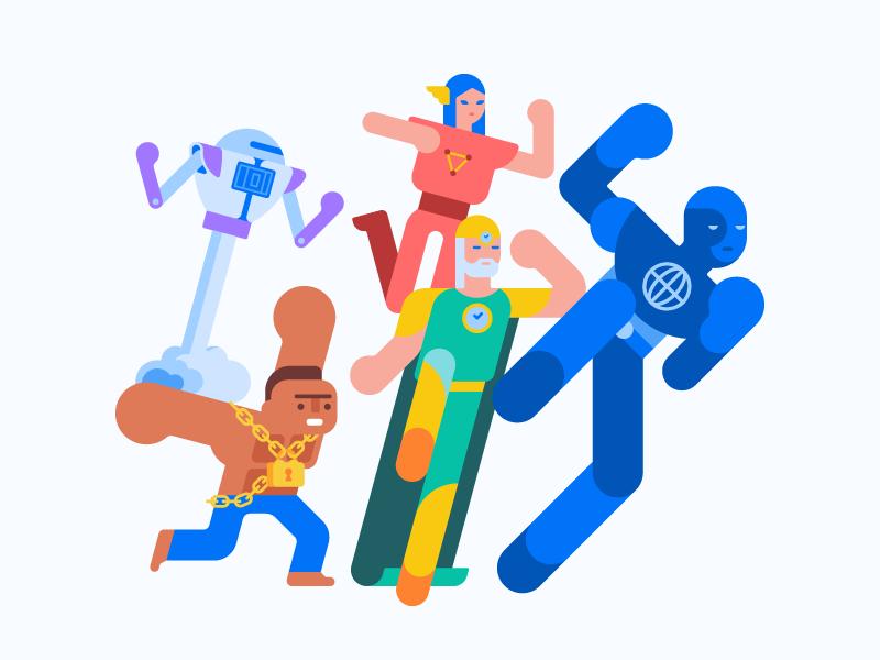 Superheroes 🧝♀️ geometric character design flat hero vector character superhero illustration
