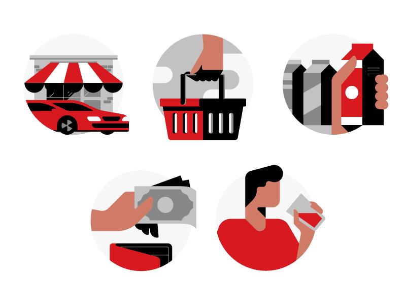 Shopper Flow Illustrations shop flat marketing illustration