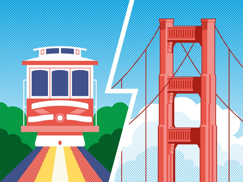 San Francisco halftone california clouds sf geometric vector golden gate bridge cable car usa illustration san francisco