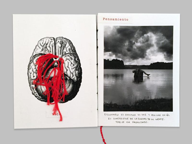 Artist's book: Beautiful voyage red threads brain design studio aurea carmin blackandwhite design artist book artist books art photography