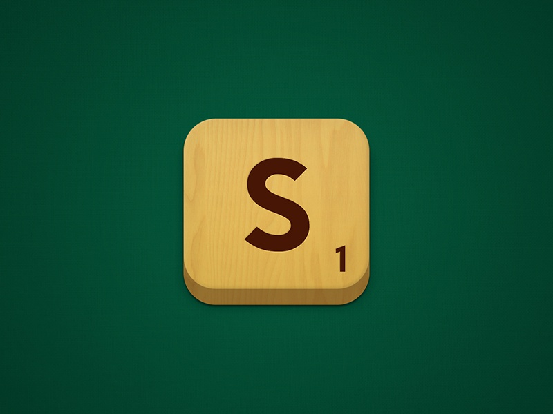 Scrabble wood spelling brand logo green yellow icon app iphone ios ipad android mobile design logo design isotype application scrabble game letter word number type 3d block letters tile alphabet texture