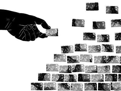 Knowledge is Freedom brand simple sketch design art hand brick wall brick procreate illustration art illustration stoicart stoicism meditation app