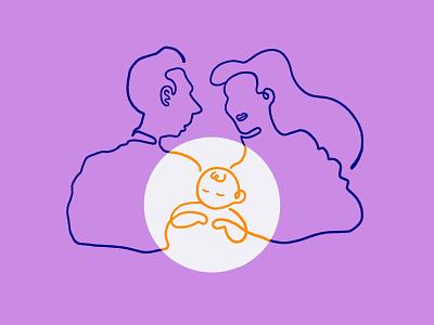 A Family baby dad line mom color illustrator procreate illustration art illustration drawing