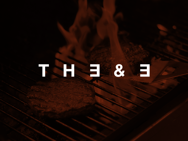 The 3 & 3 comida marca foodie restaurant the 3 and 3 grill eat food orange brand logo branding